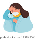 Portrait of woman wear medical mask. She is coughing and suffering from chest pain.  63309352