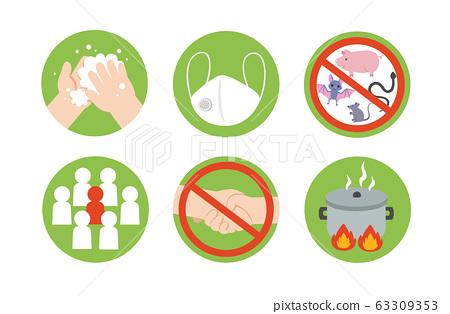 Icon of Coronavirus (COVID-19) preventions. 63309353