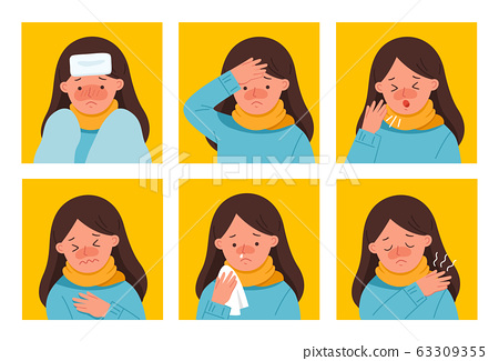 Set Symptoms of woman get sick. She is coughing, fatigue and suffering from chest pain. Coronavirus 2019-ncov flu. 63309355