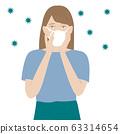 바이러스 백신 마스크를하고있는 여성 63314654