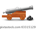 Ancient Ship Cannon With Cannonballs 63315129