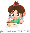 The girl eat chocolate cake. Cartoon vector 63316115