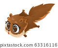 Flying squirrel , Cartoon vector illustration. 63316116