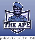 The ape gaming, E sport  vector logo 63316158