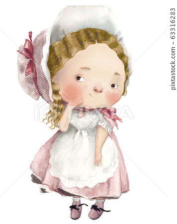 cute cartoon lovely girl with dress and apron 63316283
