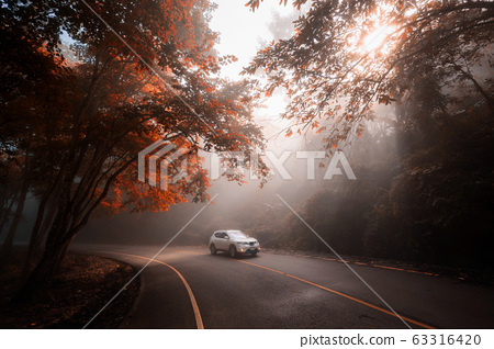 Family road trip by SUV car in fall 63316420