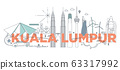 Typography word Kuala Lumpur branding technology concept. Collection of flat vector web icons. Malaysia culture travel set, architectures, specialties detailed silhouette. Doodle Asia famous landmarks 63317992
