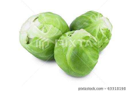 Brussels sprouts isolated on white background with clipping path and full depth of field 63318198