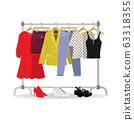 Clothes hanger with casual woman clothes, footwear 63318355