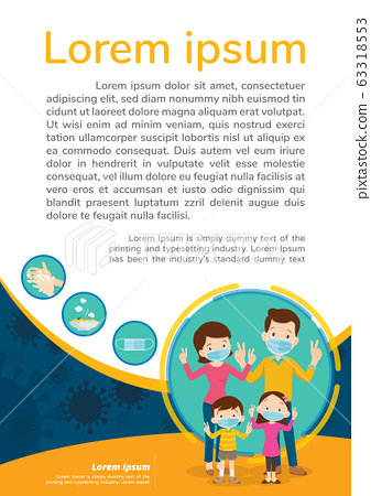 family wearing protective Medical mask for poster 63318553