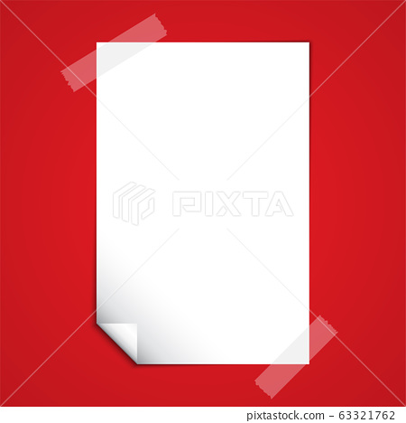 White Blank Paper Note on Red Background 63321762