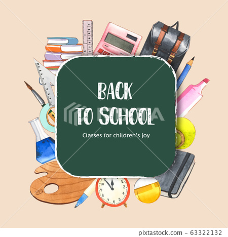 School wreath design with calculator, school bag, 63322132