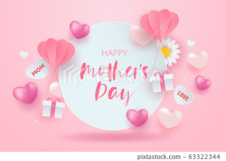 Happy mother's day sale banner design with realistic flowers , gift boxes and hearts on pink. 63322344