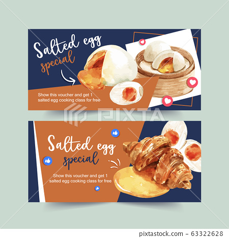 Salted egg voucher design with croissant, stemmed 63322628