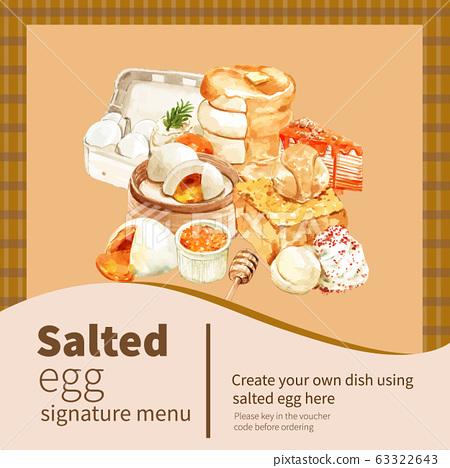 Salted egg social media design with pancake, toast 63322643