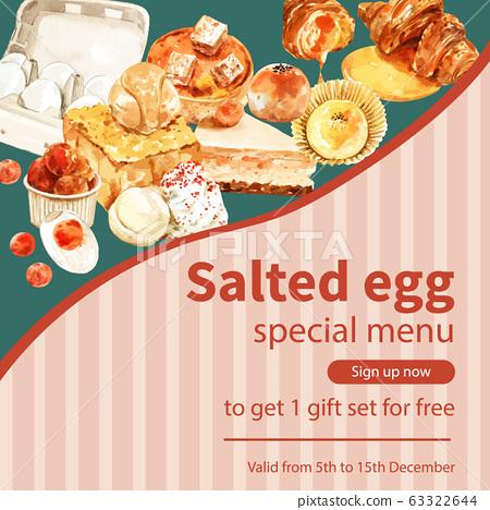 Salted egg social media design with toast, cake, 63322644