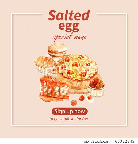 Salted egg social media design with cake, 63322645