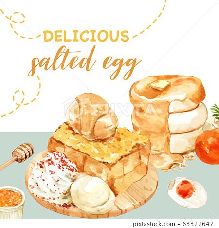 Salted egg social media design with pancake, toast 63322647