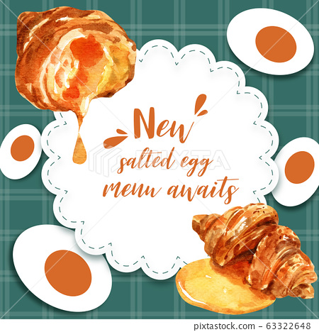 Salted egg social media design with croissant 63322648