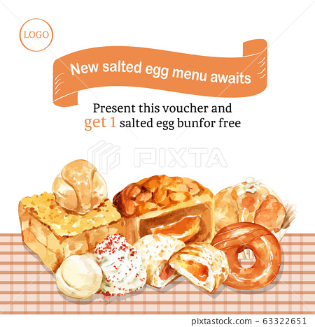 Salted egg social media design with toast, cupcake 63322651