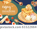 Salted egg frame design with rolling pin, toast, 63322664
