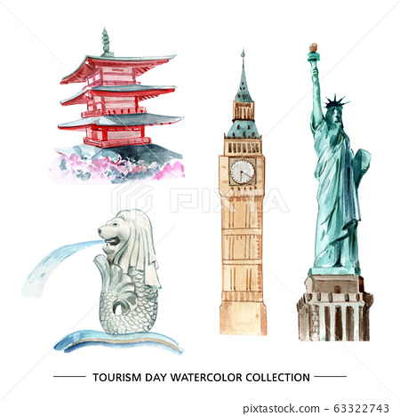Tourism collection design isolated watercolor 63322743
