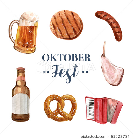 Set of isolated watercolor oktoberfest 63322754