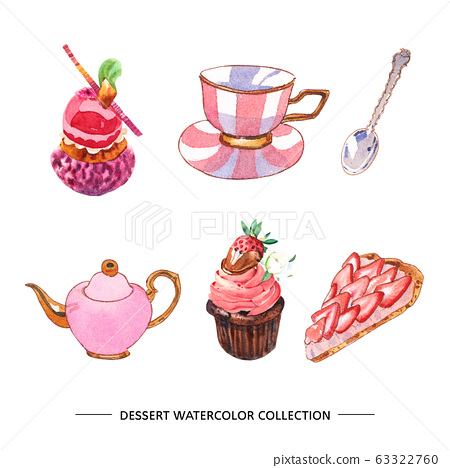 Set of various isolated watercolor dessert 63322760
