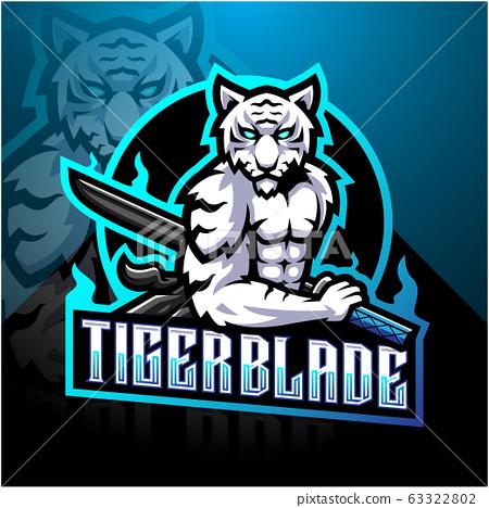 White tiger with blade esport mascot logo 63322802