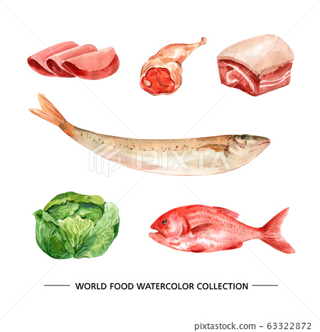 Creative isolated watercolor ham, fish, meat illustration for decorative use. 63322872