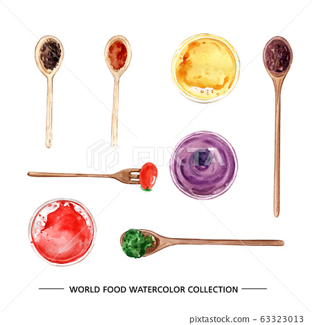 Creative isolated watercolor sauce, oil, broccoli illustration for decorative use. 63323013