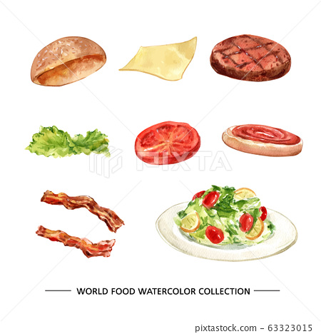 Set of isolated watercolor bread, cheese, steak illustration for decorative use. 63323015