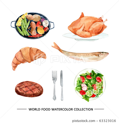 Set of watercolor chicken, croissant, steak illustration for decorative use. 63323016