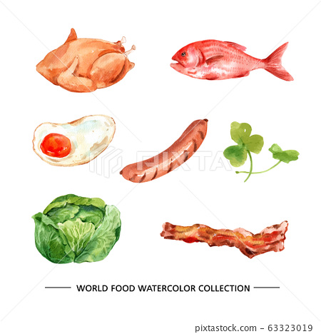 Various isolated watercolor food illustration on white background for decorative use. 63323019