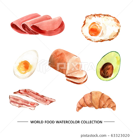 Various isolated watercolor food illustration for decorative use. 63323020
