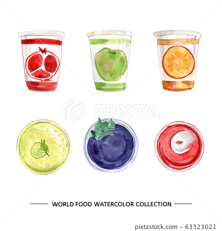 World food collection design with watercolor illustration for decorative use. 63323021