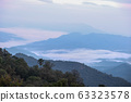 Mountain Landscape with Fog, Cloud and Forest. Sunrise and Sunset in mountains. Image 63323578