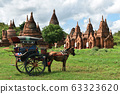 Horse drawn carriage tourists is driving along in front of the ancient temple of Bagan, Myanmar.  63323620