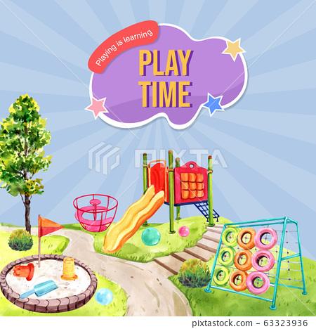 Playground social media design with slide, sandbox 63323936