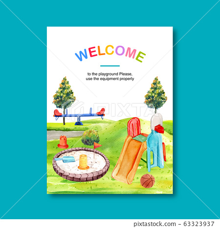 Playground poster design with sandpit, slide, 63323937
