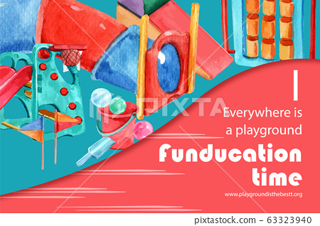 Playground frame design with balloon, pail, slide 63323940