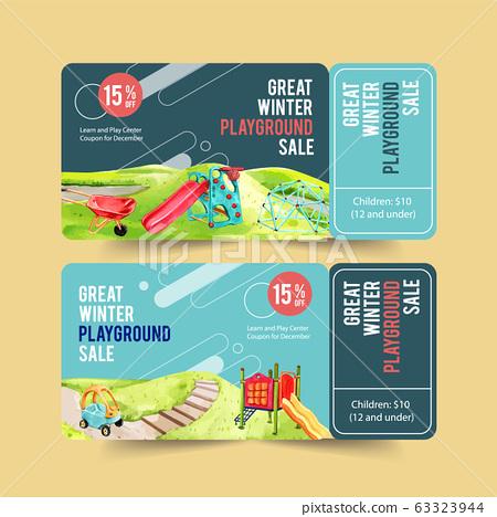 Playground ticket design with jungle gym, 63323944