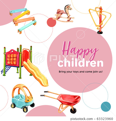 Playground social media design with rocking horse, 63323960