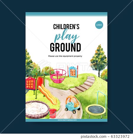 Playground poster design with trampoline, toy car, 63323972