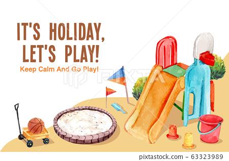 Playground frame design with slide, sandbox, pail 63323989