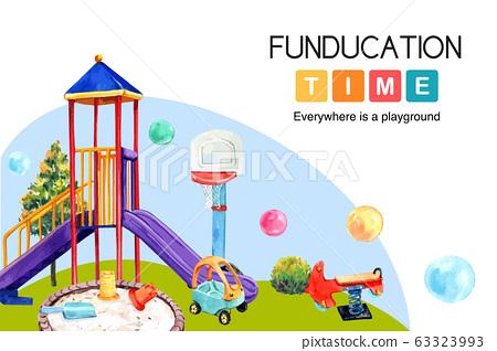 Playground frame design with slide, balloon, 63323993