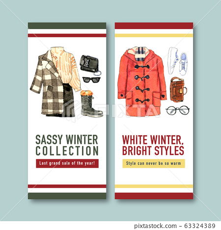 Winter style flyer design with  watercolor 63324389