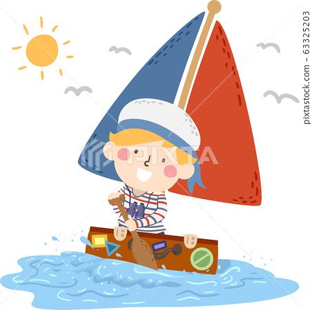 Kid Boy Travel Suitcase Sea Boat Illustration 63325203
