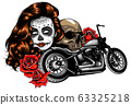 vector illustation vintage chopper motorcycle and roses poster 63325218
