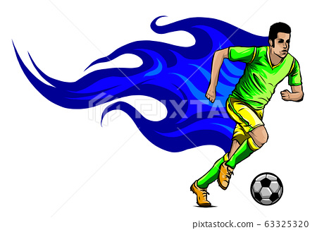 vector football soccer player silhouette with ball isolated 63325320